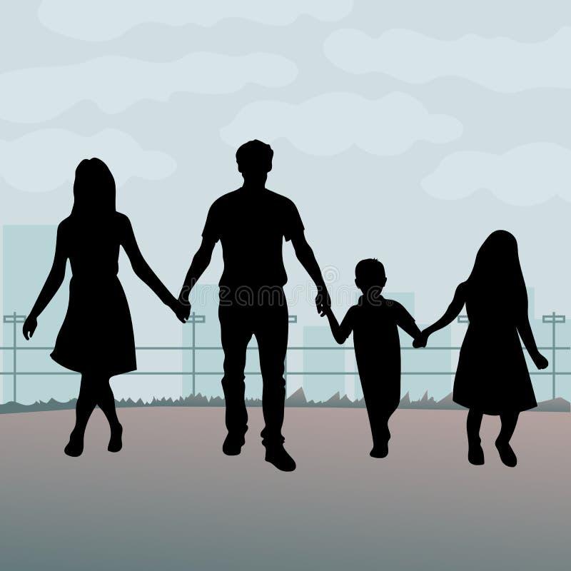 Silhouettes de famille Une illustration silhouettée d'une jeune famille tenant ensemble des mains illustration de vecteur