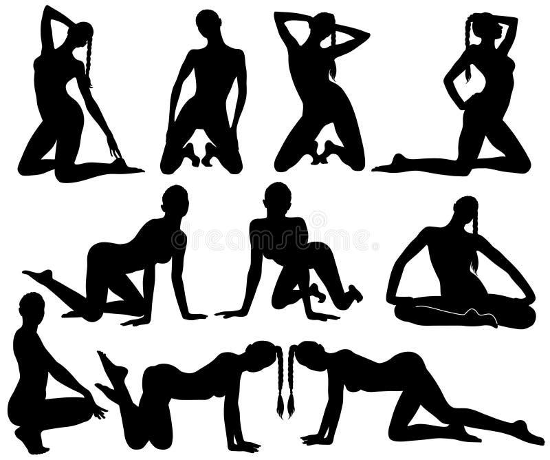 Silhouettes de femme sexy mince de danse illustration libre de droits