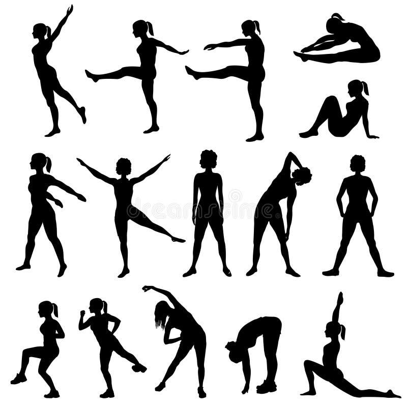 Silhouettes de femmes élégantes faisant des exercices de forme physique Club de forme physique illustration libre de droits