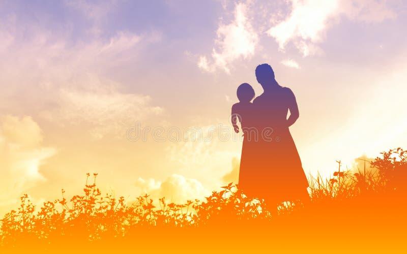 Silhouettes de femmes avec elle enfant images libres de droits