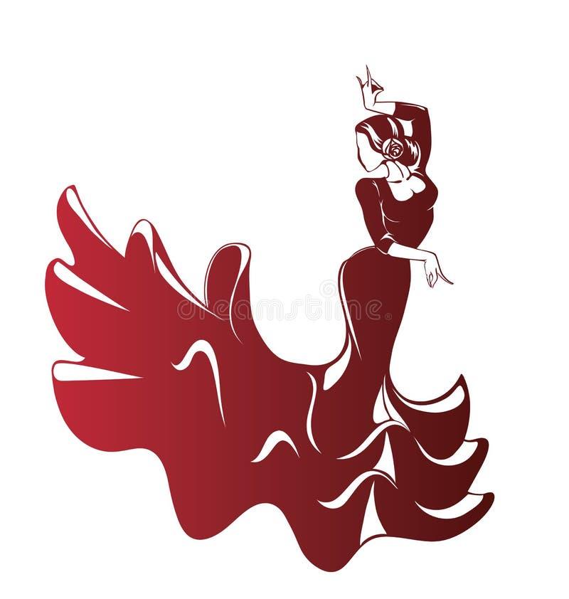 Silhouettes de flamenco illustration stock