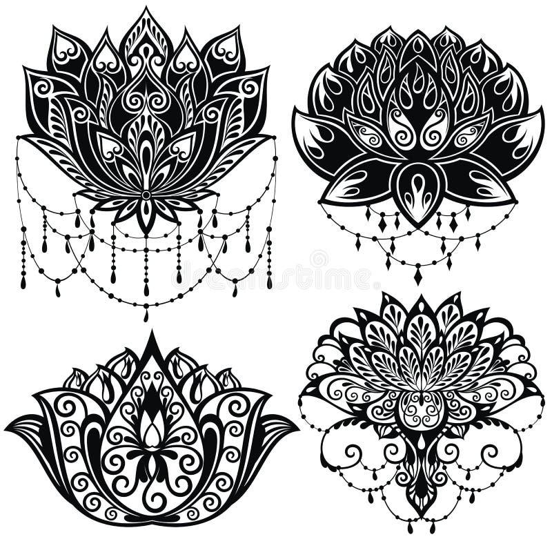 Silhouettes de fleurs de Lotus Ensemble de quatre illustrations de vecteur illustration de vecteur