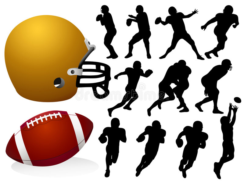 Silhouettes de football américain illustration libre de droits