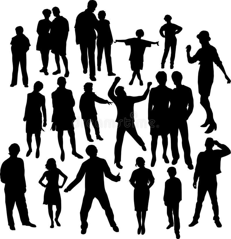 Silhouettes de gens illustration stock