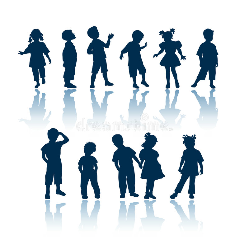 Silhouettes de gosses illustration stock