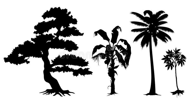 Silhouettes de grands et petits arbres illustration libre de droits