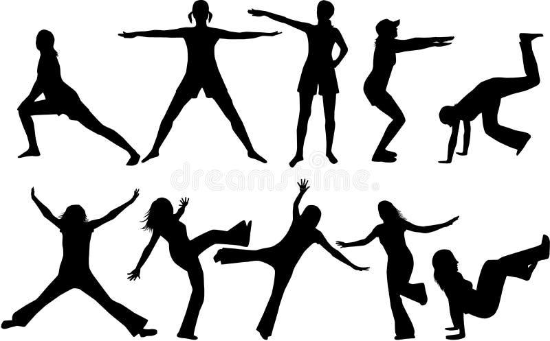 Silhouettes de gymnastique illustration libre de droits