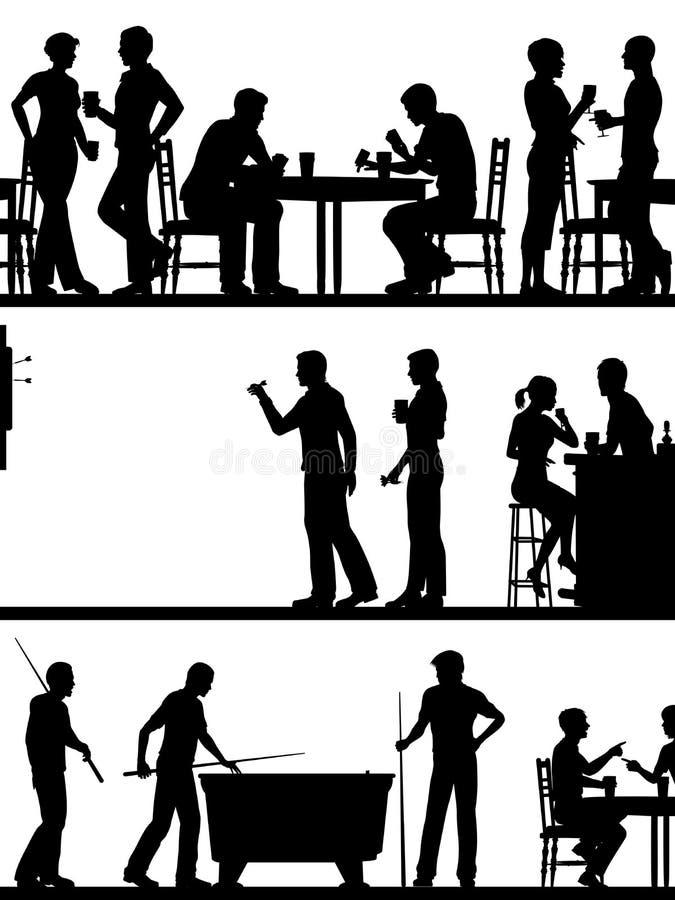Silhouettes de jeu de bar illustration libre de droits