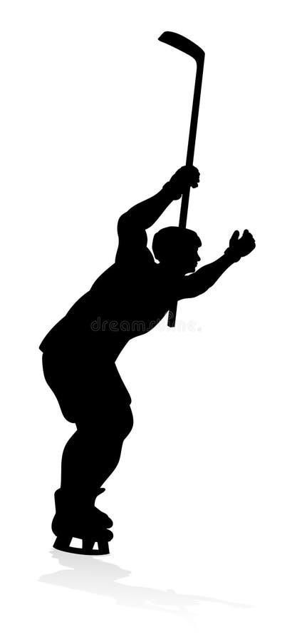 Silhouettes de joueur de sports d'hockey illustration libre de droits