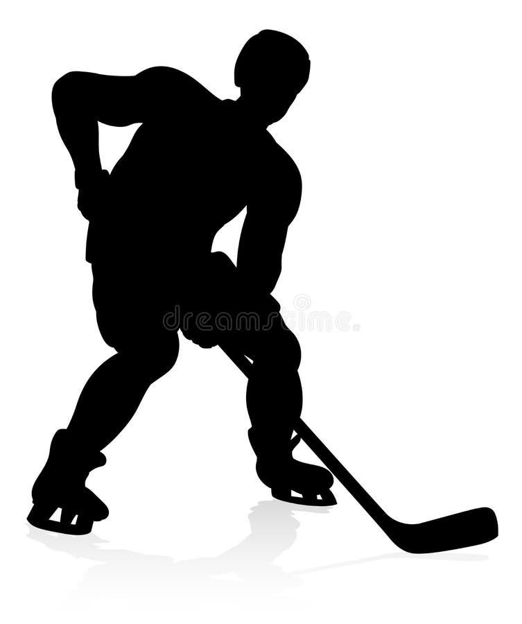 Silhouettes de joueur de sports d'hockey illustration de vecteur