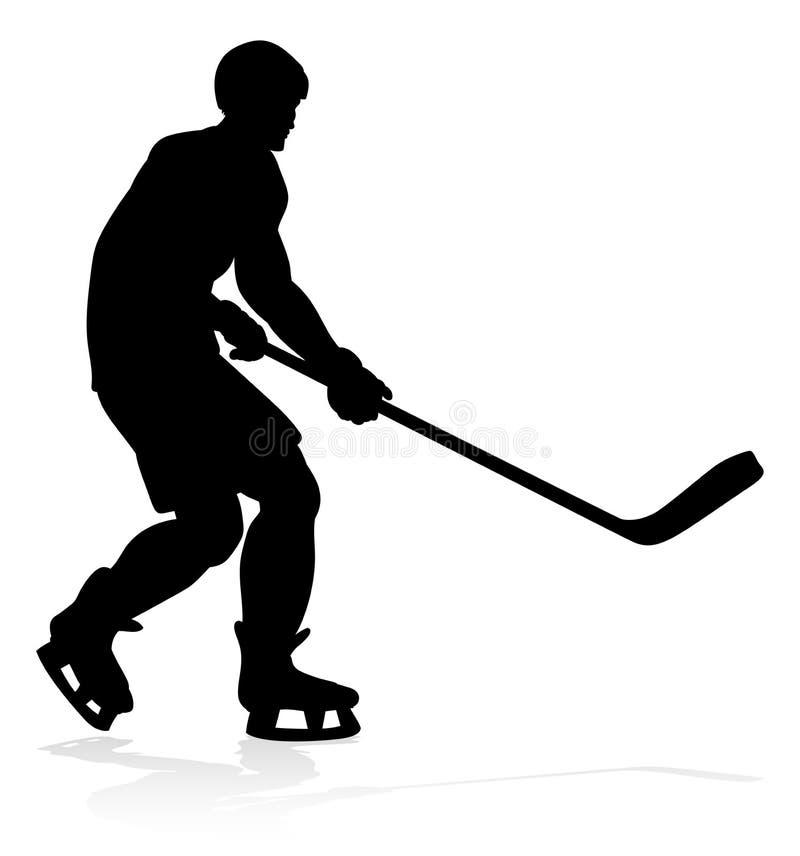 Silhouettes de joueur de sports d'hockey illustration stock