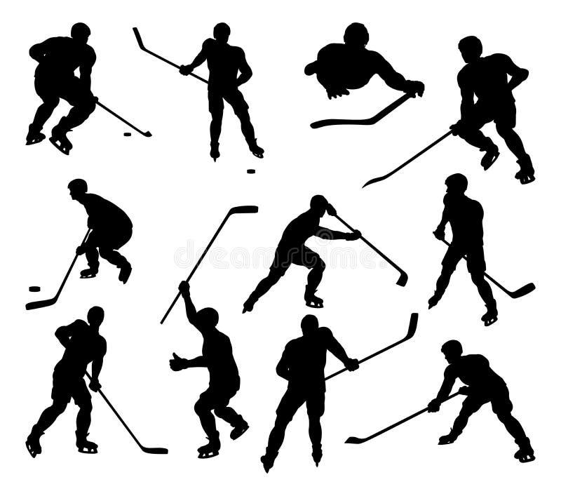 Silhouettes de joueurs de sports d'hockey illustration stock