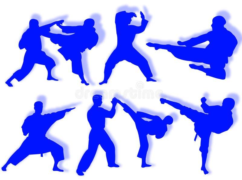 Silhouettes de karaté illustration libre de droits