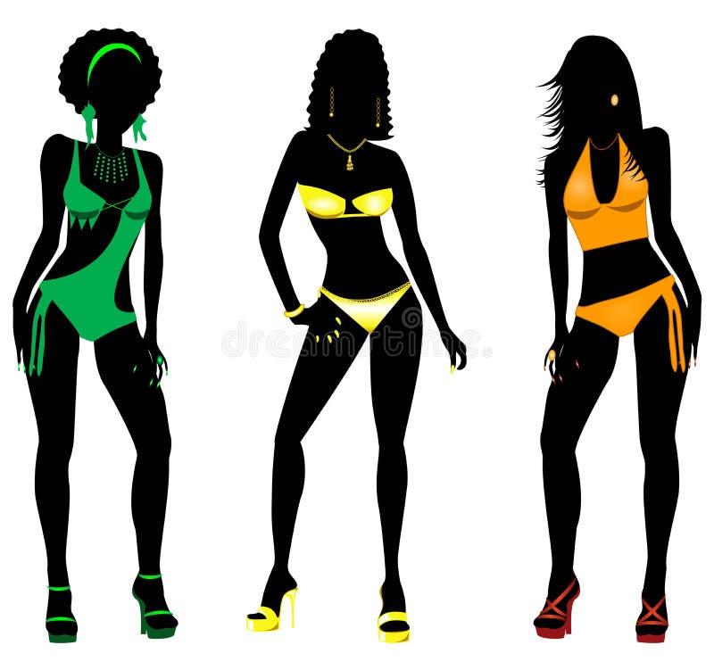 Silhouettes 2 de maillot de bain illustration libre de droits