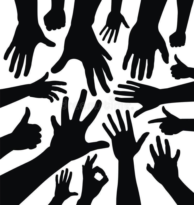 Silhouettes de main illustration libre de droits