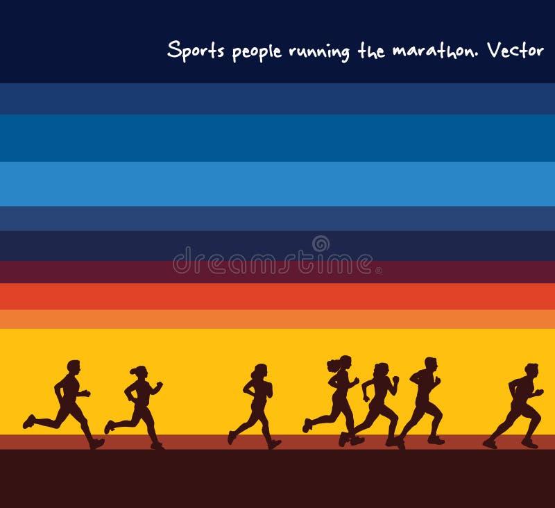 Silhouettes de marathon de personnes de sports et ciel courants de lever de soleil illustration libre de droits