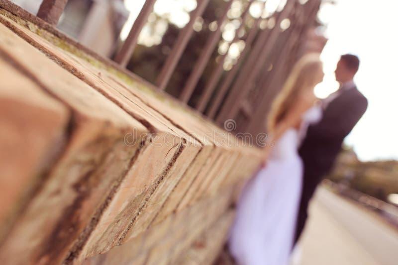 Silhouettes de marié et de jeune mariée image stock