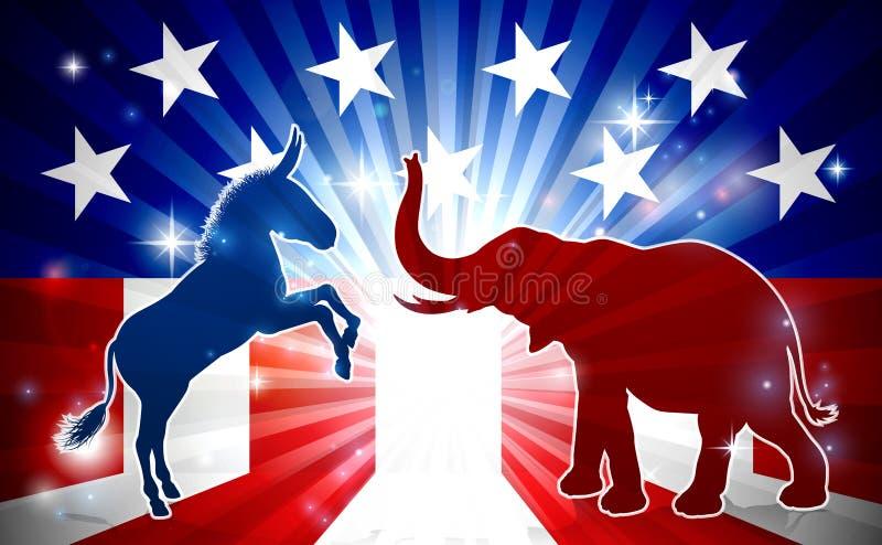 Silhouettes de mascottes d'éléphant et d'âne illustration de vecteur