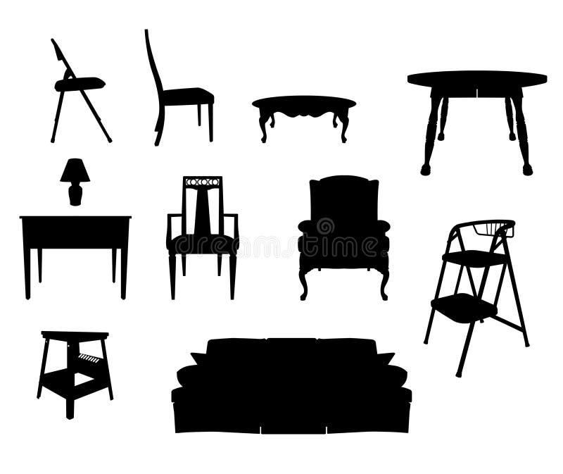 Silhouettes de meubles illustration libre de droits