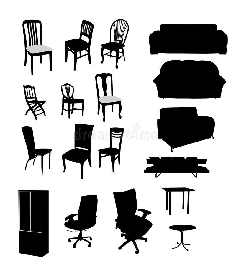 silhouettes de meubles illustration stock