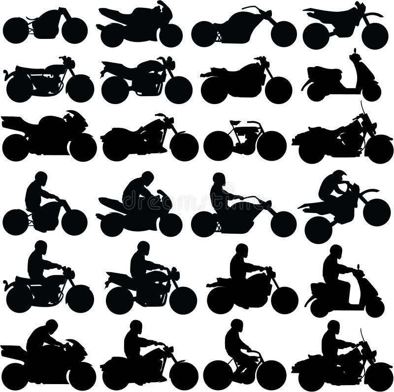 Silhouettes de moto illustration de vecteur