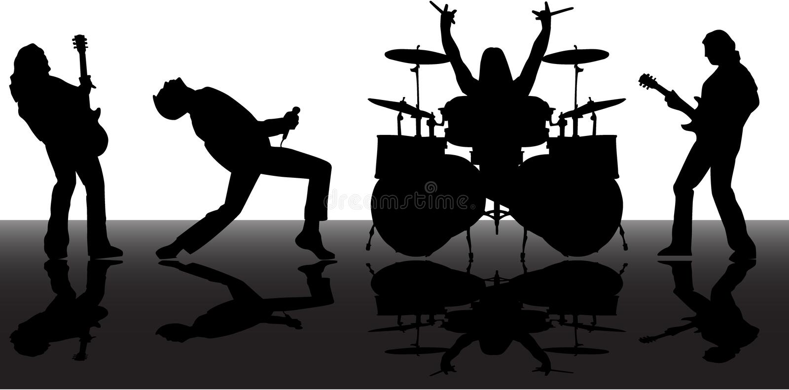 Silhouettes de Musicans illustration stock