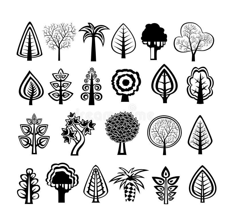 Silhouettes de nature d'arbres illustration stock