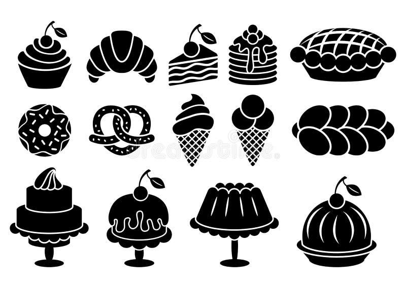 Silhouettes de nourriture cuites au four par bonbon réglées illustration libre de droits