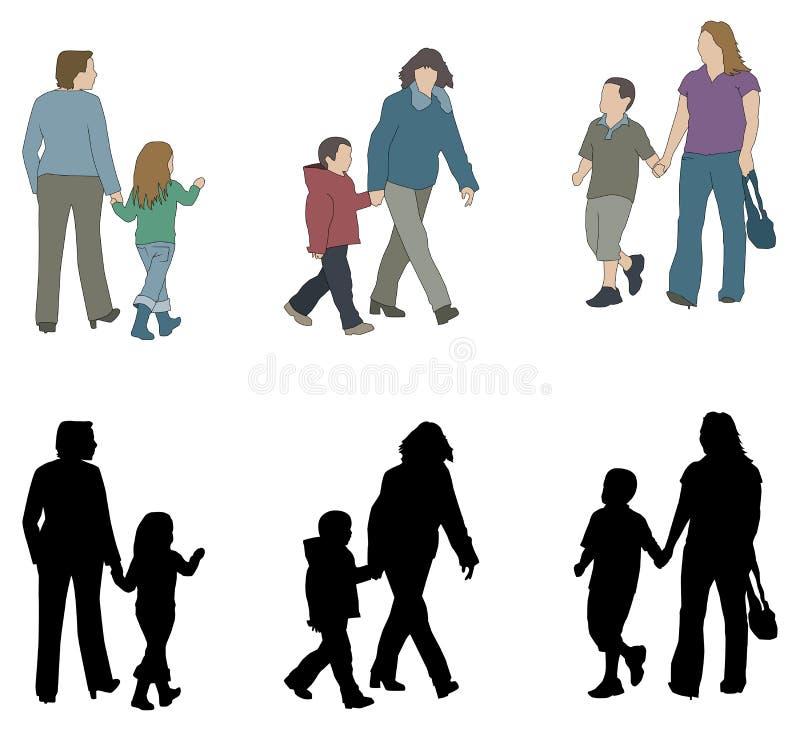 Silhouettes de parent et d'enfant illustration libre de droits