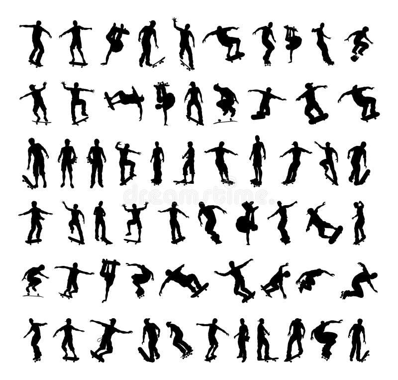 Silhouettes de patineur illustration stock