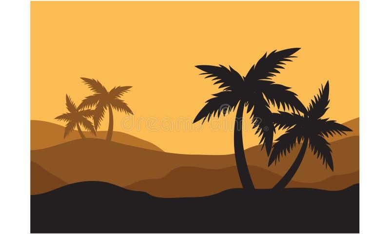 Silhouettes de paume dans le désert illustration de vecteur