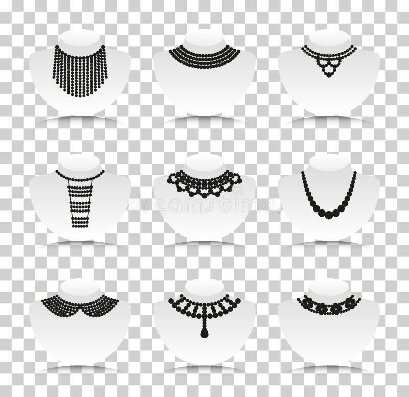 Silhouettes de perle réglées Icônes de silhouette avec la réflexion sur le fond transparent illustration stock
