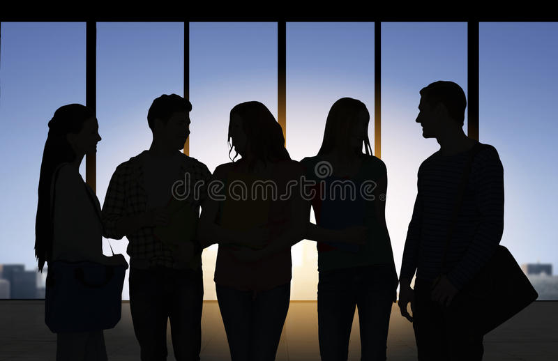 Silhouettes de personnes au-dessus de fond de bureau illustration libre de droits