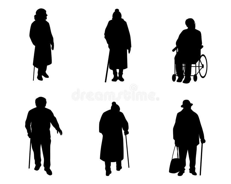 Silhouettes de personnes plus âgées illustration de vecteur