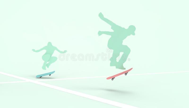 Silhouettes de planche à roulettes dessinant le style du hippie et du concept extrême de sports de style libre le fond et l'été v illustration libre de droits