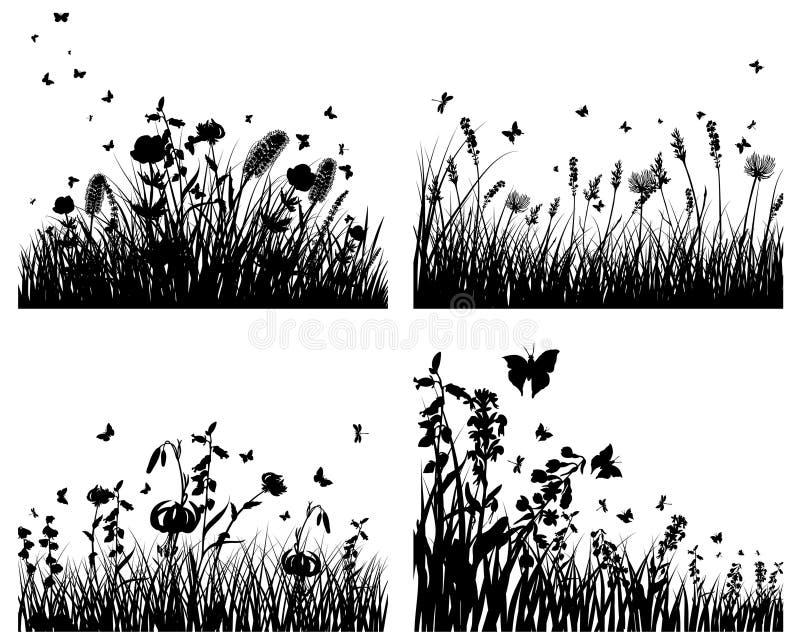 Silhouettes de pré illustration de vecteur