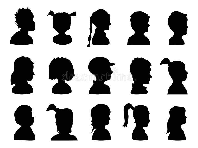 Silhouettes de profil d'enfants illustration de vecteur