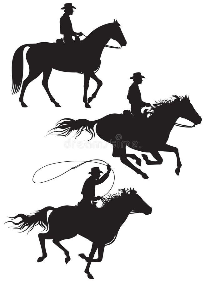 Silhouettes de propriétaire d'un ranch de cowboy illustration stock