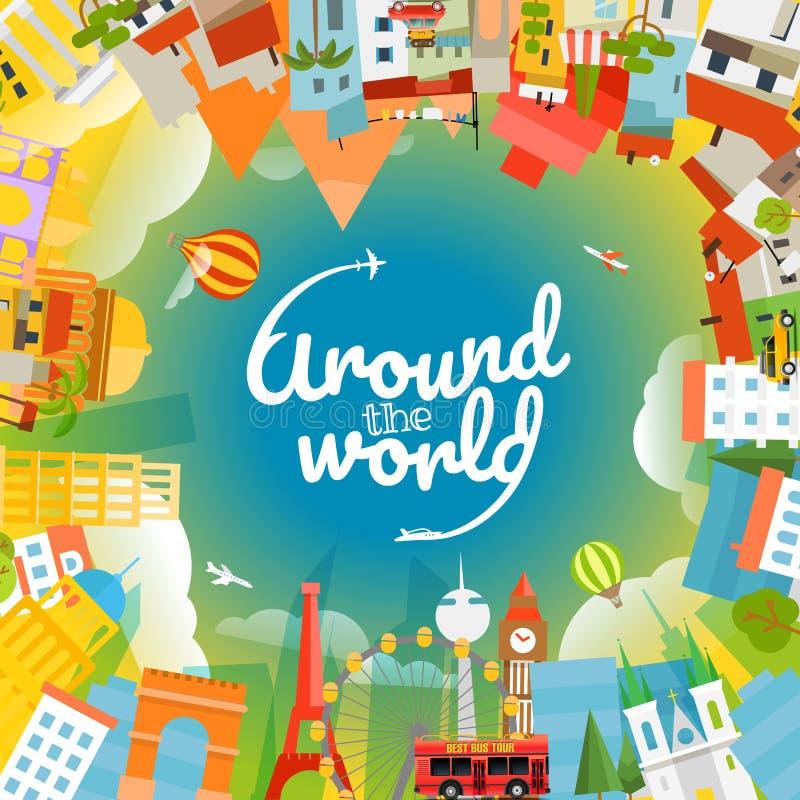 Silhouettes de renommée mondiale de signts illustration libre de droits
