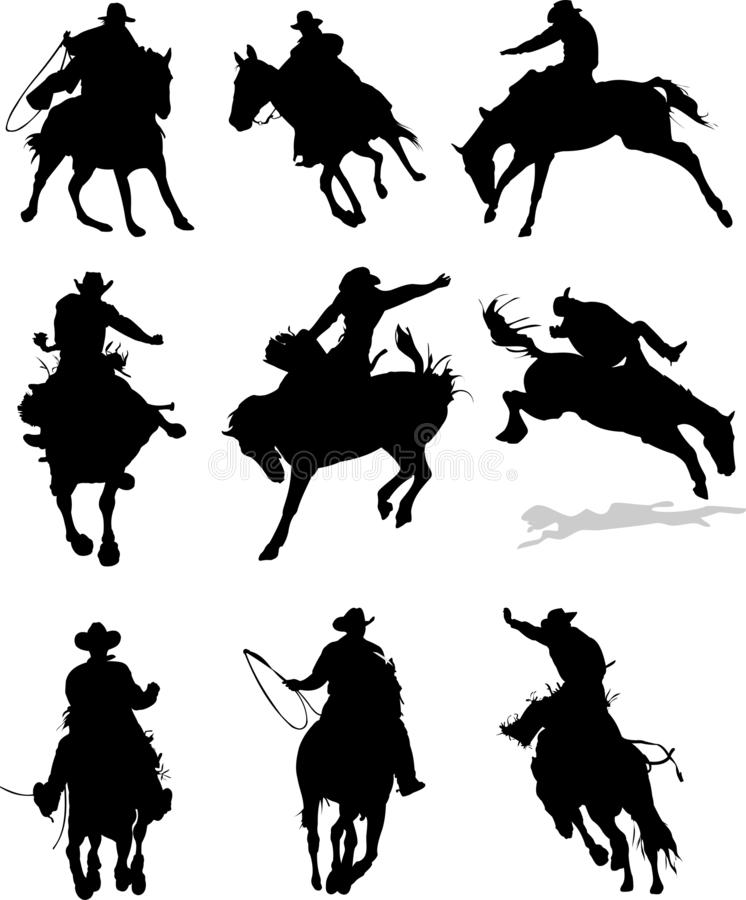 Silhouettes de rodéo de cheval , illustration stock