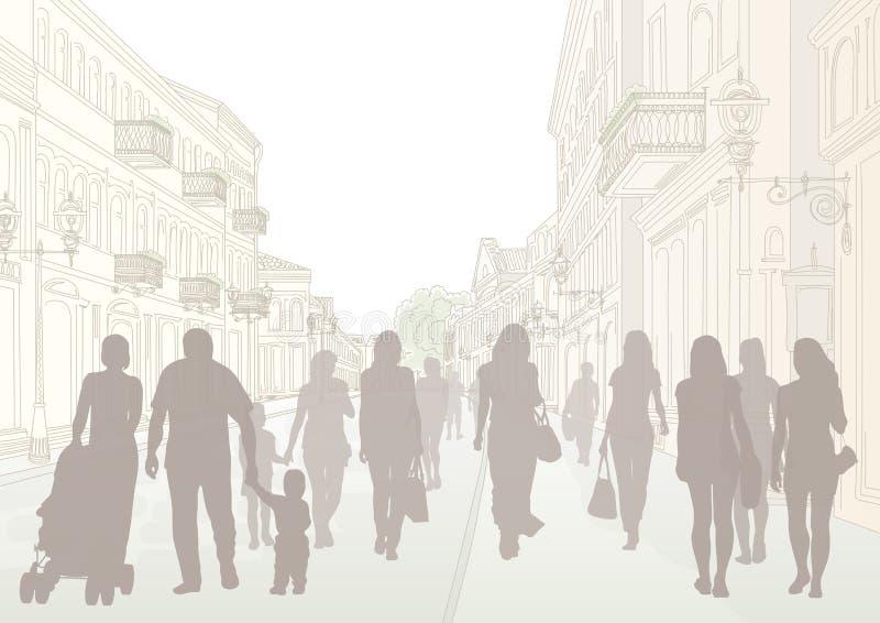 Silhouettes de rue et de personnes de ville illustration de vecteur