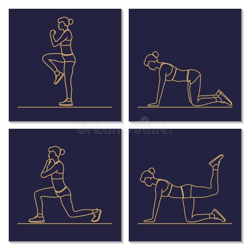 Silhouettes de séance d'entraînement d'exercice de femme de forme physique de sport illustration stock