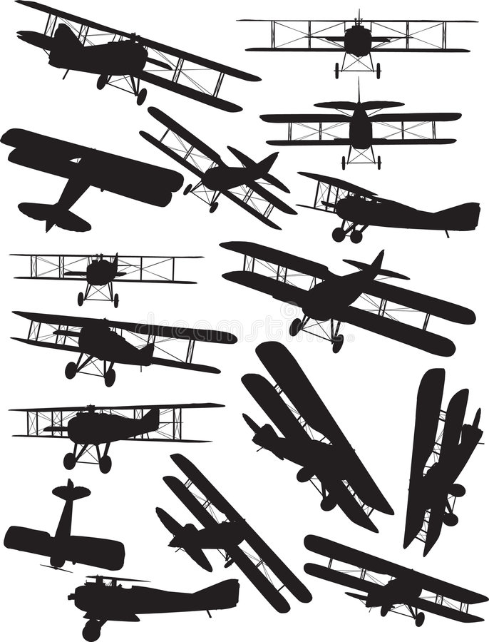 Silhouettes de Spad illustration de vecteur