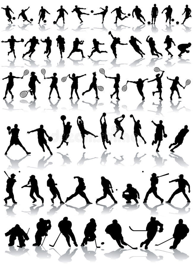 Silhouettes de sport illustration stock