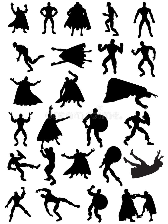 Silhouettes de Superhero images libres de droits
