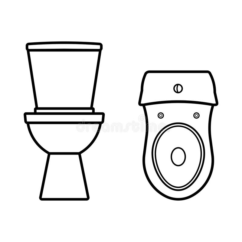 Silhouettes de toilette, vecteur de cuvette illustration de vecteur