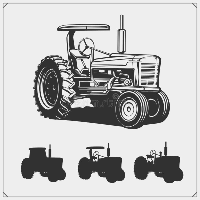 Silhouettes de tracteur réglées Illustration de vecteur illustration stock