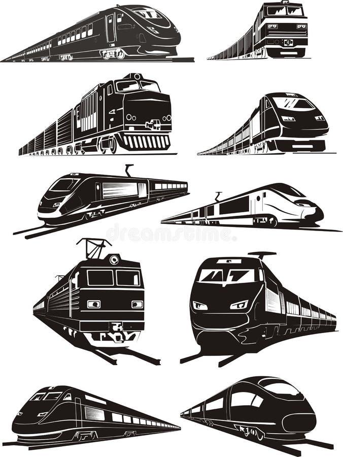 silhouettes de train illustration stock
