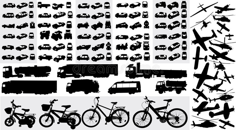 Silhouettes de transport illustration de vecteur