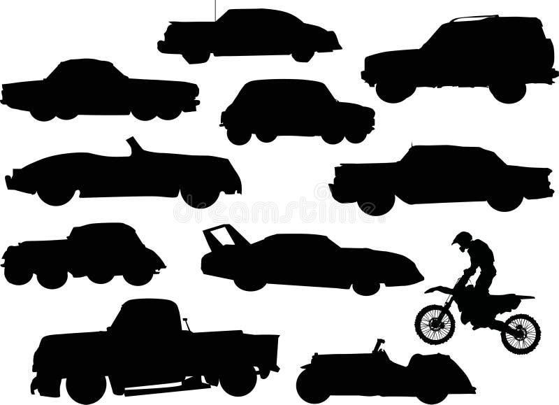 Silhouettes de véhicules illustration libre de droits